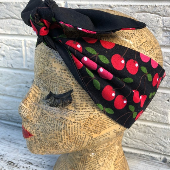Cherry Headscarf Rockabilly Pinup 1950's inspired