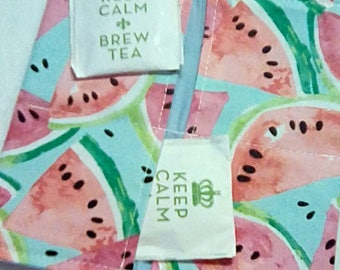 Tea Bag Wallet, WATERMELONS, Four Pockets, Handmade, FREE Shipping USa, Holds Tea & Sweetener - Also Travel Jewelry Wallet