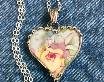 Necklace, Broken China Jewelry, Broken China Necklace, Heart Pendant, Aqua and Yellow Floral China, Sterling Silver, Soldered Jewelry