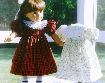 """Doll Pattern / 18"""" Doll Pattern / Smocked Collar Party Dress / Slip Pattern/ Smocked Doll Dress / by Carol Clements"""
