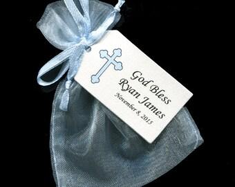 Boys Baptism Favor Bags - Christening Favor - Favor Tag - Favor Bag - Candy Bag - Personalized Tag - Blue Organza Bag - Blue Cross