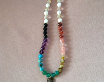 Genuine Gemstone Chakra Healing Necklace ~ Gemstone Chakra Necklace ~ Chakra Balancing Necklace ~ Energy Balancing Necklace