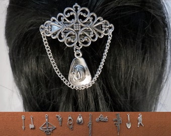 Zombie Apocalypse 40 mm filigree barrette with the charm of your choice.
