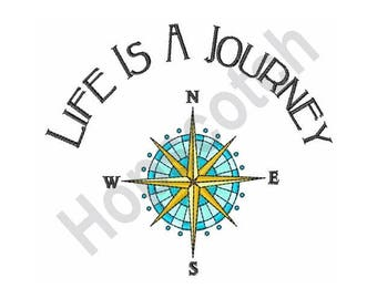 Life Is A Journey Compass- Machine Embroidery Design
