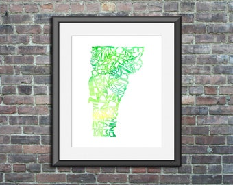 Vermont watercolor typography map art unframed print state poster wedding graduation gift anniversary wall decor lake house
