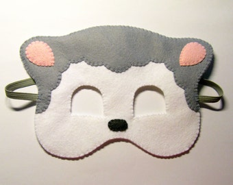 Sheep felt Mask - Grey White - Childrens animal costume - for boys girls - soft felt - Dress Up play accessory - Theatre roleplay