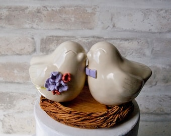 Love Bird Topper with Bouquet and Bow Tie
