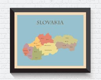 Slovakia Map, Slovakia Poster, Slovakia Print, Slovakia Art, Slovakia Wall Art, Map of Slovakia, Slovakia Map Print, Slovakia Decor