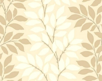 Contemporary Leaf Vine Wallpaper - Transitional, Abstract, Botanical, Tree, Cream, Taupe, Tan, Modern, Pearl Sheen - By The Yard - BL0319