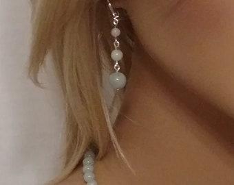 Genuine Aquamarine, Aquamarine earrings, 3 tier earrings, Aquamarine, graduated, dangle earrings, bead earrings