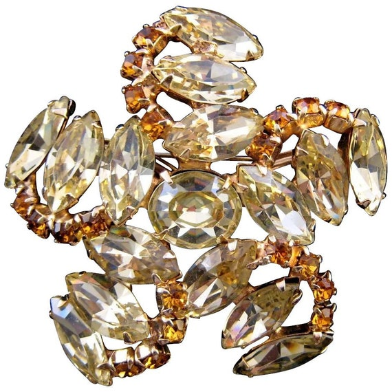 Vintage Lemon Rhinestone Pinwheel Brooch with Amber Colored Accents