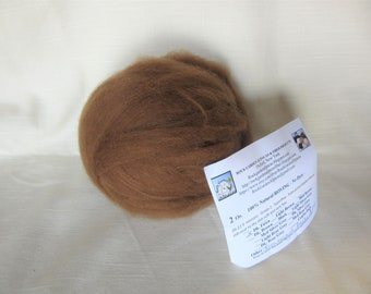 2 oz Dark Fawn Alpaca SUPERFINE (Peony) Roving - for Spinning, Nuno Felting or Needlefelting
