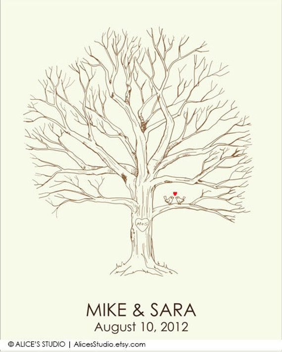 Life Of Lorin Our Wedding Tree: Canvas Wedding Tree Guest Book Hand Drawn Fingerprint Tree
