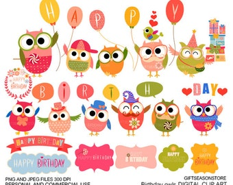Happy birthday owl Digital clip art for Personal and Commercial use - INSTANT DOWNLOAD