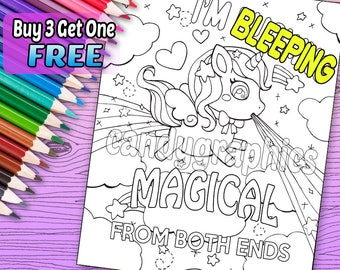 SWEARY PAGE - I'm Bleeping Magical From Both Ends - Adult Coloring Book Page - Printable Instant Download