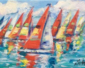 Sailboats Painting  Regatta  Painting Original Art