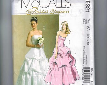 Misses Sewing Pattern McCalls M5321 5321 Bridal Elegance Strapless Wedding Gown Bridesmaids Dress Full Skirt Pickups Size 6 8 10 12 UNCUT 99
