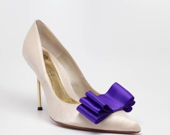 Purple Satin Ribbon Bow Shoe Clips Set Of Two, More Colors Available