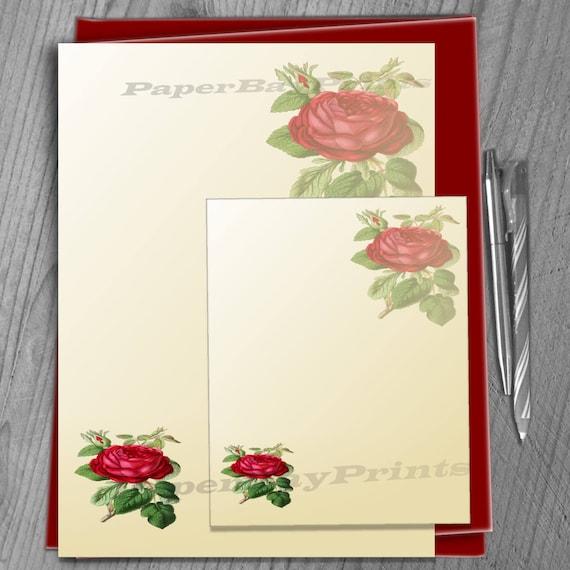Papel para escribir imprimible, Vintage rosa estampado de flores ...