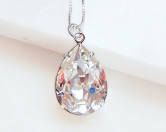 Clear Pear Shape Crystal Necklace on Sterling Silver - Bridal Jewelry - Wedding Jewelry
