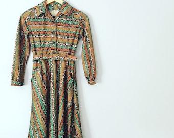 Vintage Floral 1970s Dress