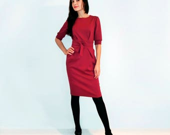 Red jersey dress Red  dress Jersey dress Dress with pockets  Dress with long sleeves Autumn dress Сasual dress