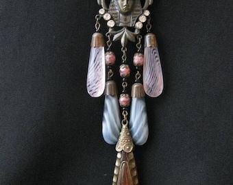 Vintage Signed Czech Egyptian Revival Pharoah Glass Necklace