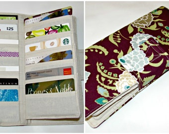 Clearance Credit Card Organizer Wallet, Gift Card Holder, women's wallet 38 Credit Card Organizer, Caravan Wine Business Card holder