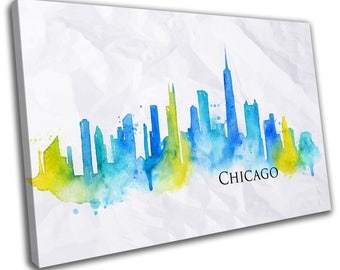 Watercolour Chicago Skyline Cityscape Canvas Print Home Decor- Abstract Wall Art - Modern Prints - Ready To Hang