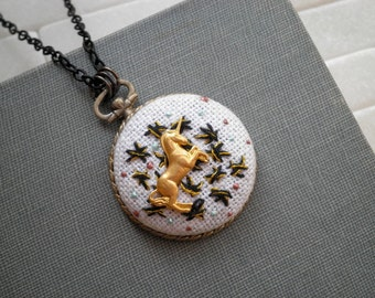 Modern Unicorn Embroidered Necklace - Embroidery Stars & Miniature Unicorn Necklace- Star Embroidery Outer Space Night Sky Boho Gift for Her