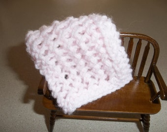 Light/Pale Pink Miniature Crib Doll House Blanket/Afghan/Throw - One Twelfth Scale