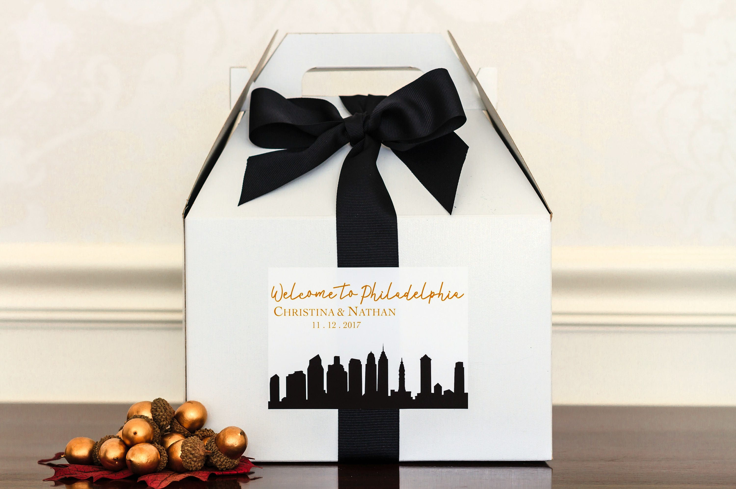 City Skyline Wedding Welcome Bag Stickers. NYC Washington DC
