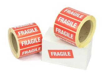 "Self Adhesive ""FRAGILE"" shipping labels / stickers, permanent adhesive 89mm x 35mm. Various quantities available."