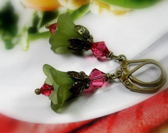 Flower Earrings, Lucite Flowers, Olive Green, Romantic Floral Jewelry, Woodland Bohemian Beach Earrings, jewelrybyNaLa,  Gift