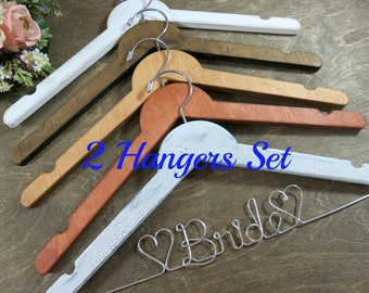 Bridal Wedding Hangers - Bride Coat Hanger - Bridal Accessories - Wedding Dress Hangers - Wire Wedding Hangers - Set of Two - Brides Gift