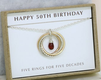 50th birthday gift, January birthstone necklace 50th, garnet necklace for 50th birthday, gift for wife, mom, sister - Lilia