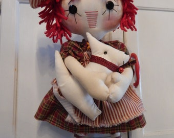 Doll, Annie and her Bestie Westie, rag doll, raggedy ann, primitive doll