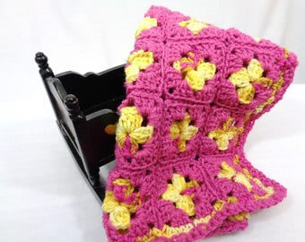 Pink and Yellow Doll Blanket, Crochet Baby Doll Afghan,  Dollhouse Quilt, Crocheted Old Time Granny Square Blanket, Trivet, Baby Snuggie