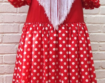 "Flamenco dress, Spanish, Vintage, red with white polka dots, PLUS SIZE, 38"" Bust, From Seville, FREE white mantocillo, earrings and peineta,"