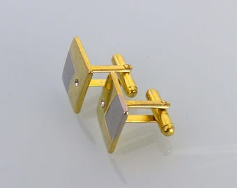 Men's Cufflinks Gold and Silver Tone Square Cuff Links Vintage