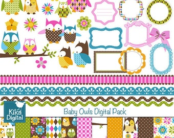 Baby Owl Digital Clipart and Paper Pack - Scrapbooking , card design, invitations, stickers, paper crafts, web design - INSTANT DOWNLOAD
