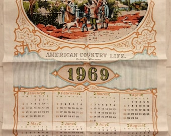 Vintage 1969 Victory Linen calendar tea towel New Unused American Country Life October afternoon