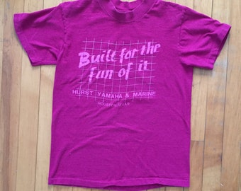 """Vintage 80's """"Built For the Fun of It"""" Hurst Yamaha & Marine Graphic Tee"""
