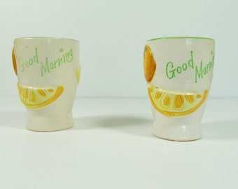 Vintage 'Good Morning' Egg Cup Pair
