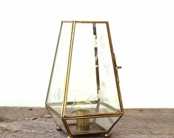 """vintage etched glass and brass candlestick holder . boho vintage taper candle holder .75"""""""
