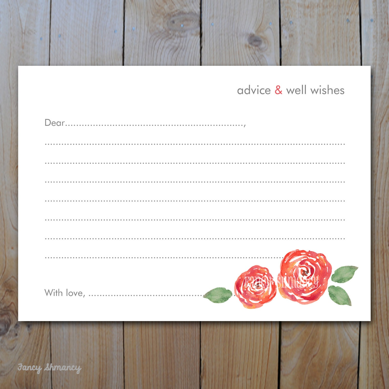 advice card wishes card bridal shower advice and well wishes coral watercolor floral instant download printable 12351