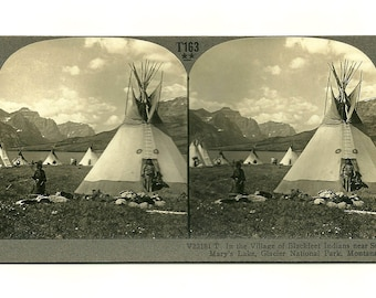 Antique 1900s Stereograph Card: Village of the Blackfeet,  American Indians – Home Decor Photography Collectable
