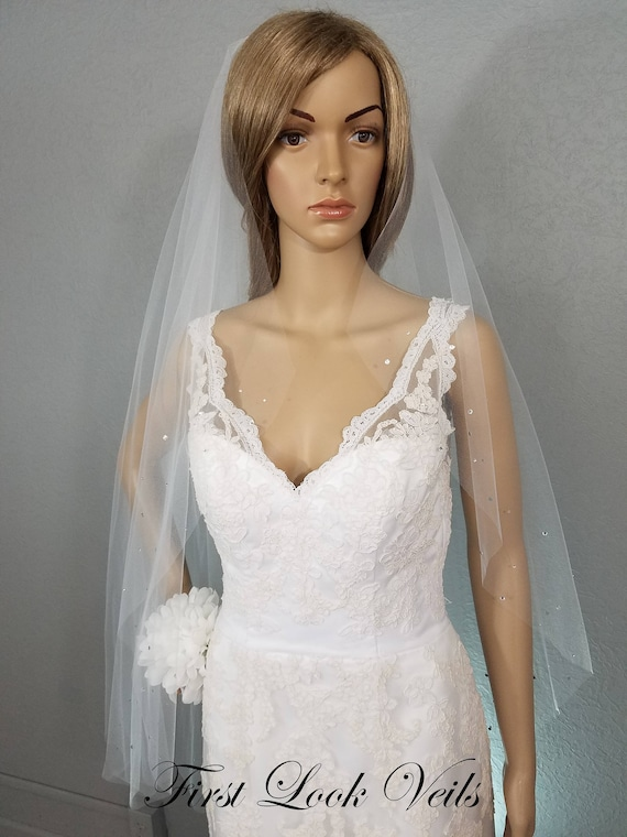 White Wedding Veil, Fingertip Bridal Veil, Crystal Veil, Cathedral Veil, One Layer, Accessory, Soft Tulle Veil, Long Veil, Short Veil