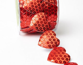 Adhesive Sequin Heart Ribbon - Red - 1.5 inch  - You Choose Yards