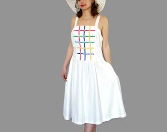 70s white sundress by Jenni. Vintage summer cotton blend dress. Mad Men fashion. Rainbow colors. Swing dress. Picnic dress.